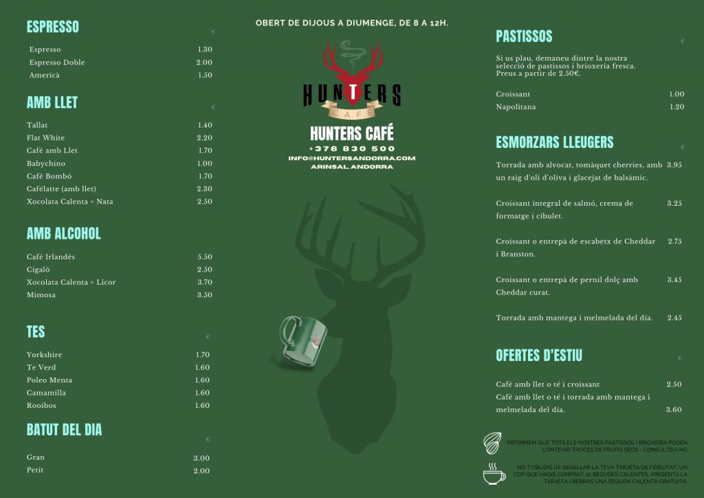 hunters cafe menu catalan