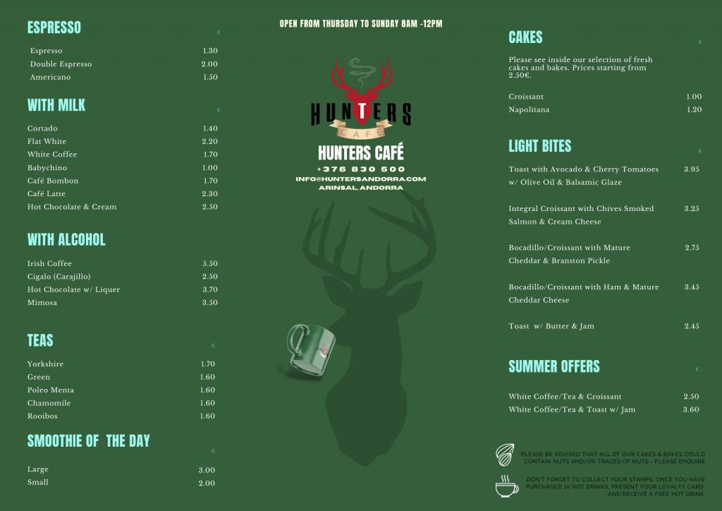 hunters cafe menu english