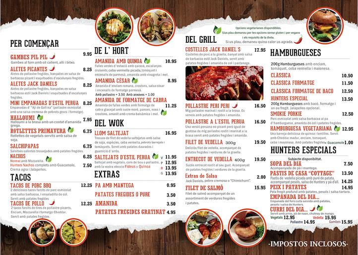 hunters menu english 2