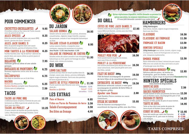 hunters menu french 2