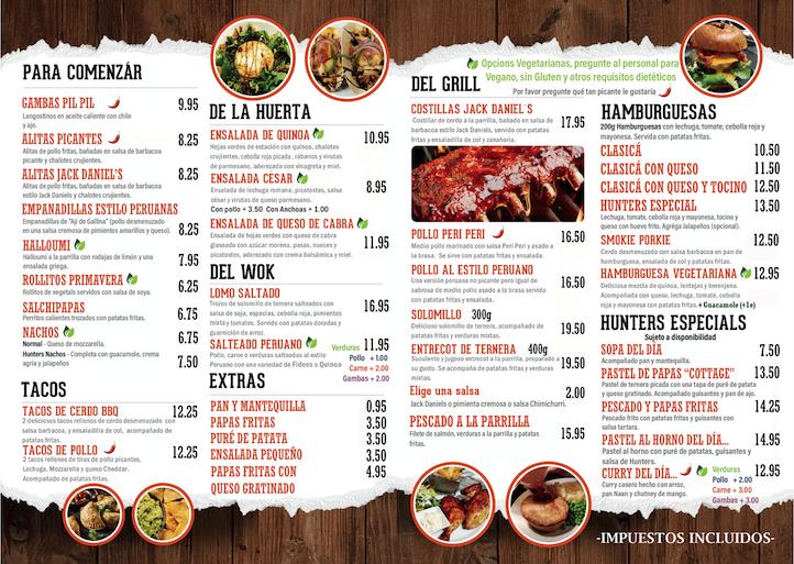 hunters menu spanish 2