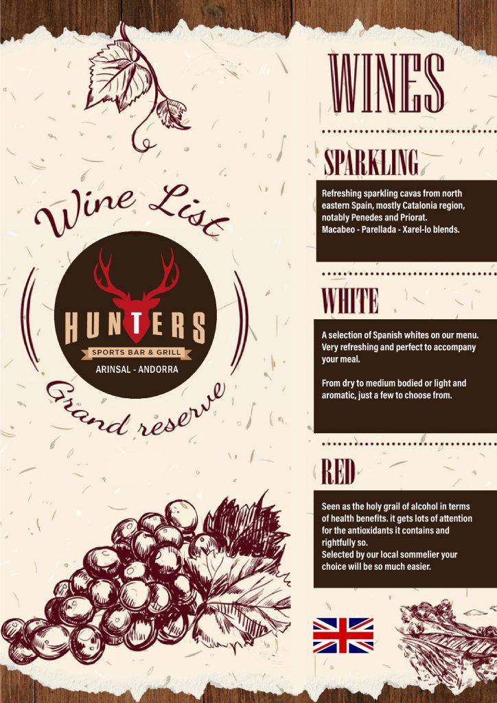 hunters andorra wine list english