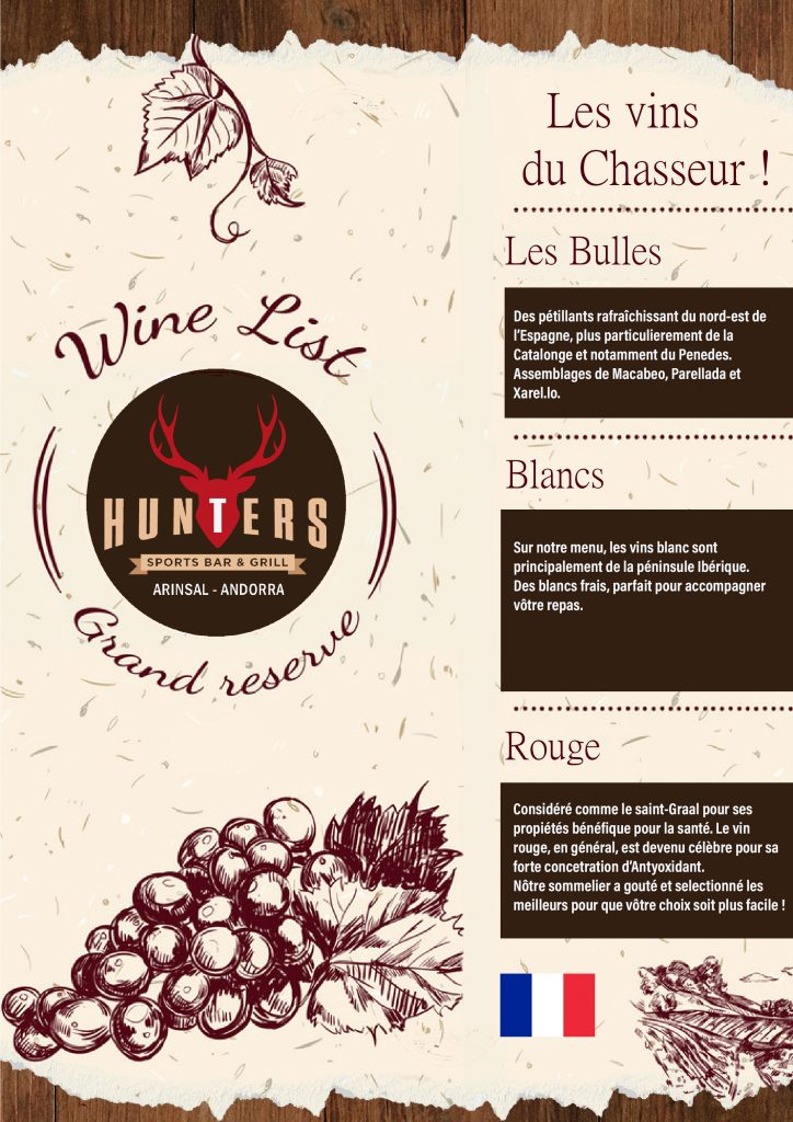 hunters andorra wine list french