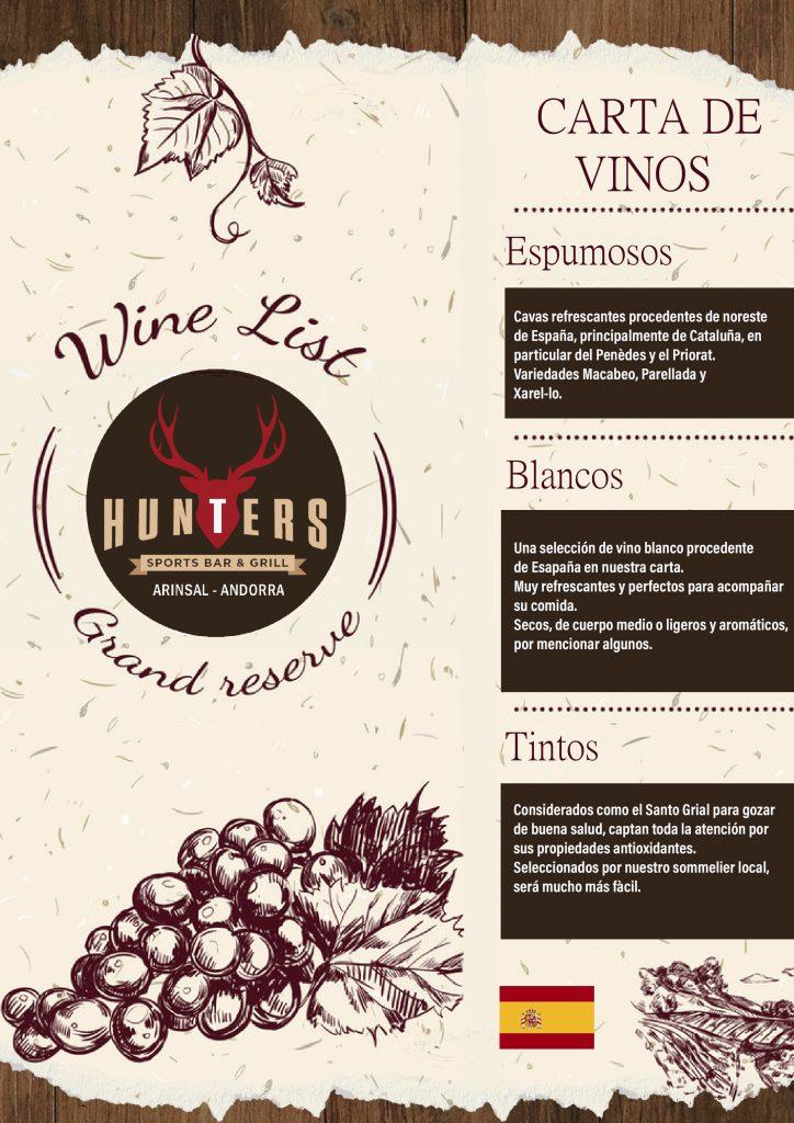 hunters andorra wine list spanish